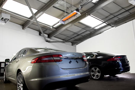 jaguar car workshop using infraglo space heater